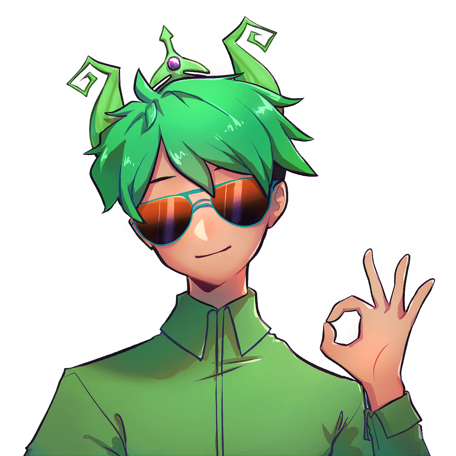Roblox avatar wearing green collectible items